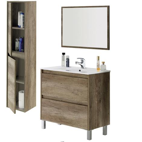 Completo Conjunto Mueble de Baño 2 cajones, Mueble + Espejo + Lavabo + Columna (Grifería Incluida)