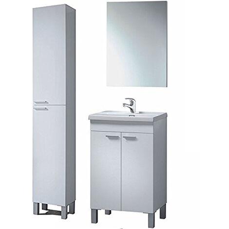 Completo Conjunto Mueble de Baño, Mueble + Espejo + Mueble Columna + Grifería Incluida