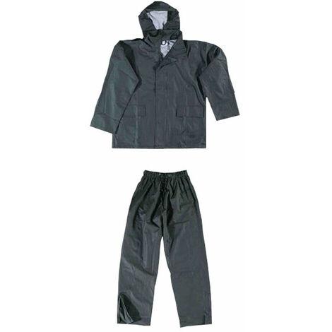 Completo Da Lavoro Impermeabile Gommato Antipioggia Giacca e Pantalone Verde