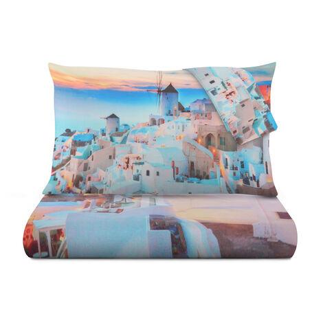 Completo Lenzuola Santorini In Cotone, Da 2 Piazze Multicolore