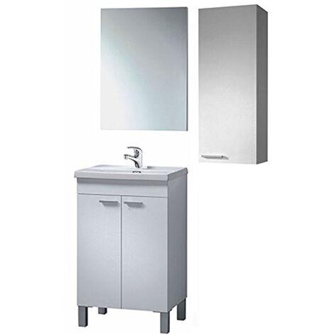 Completo Mueble de Baño: Lavabo Cerámica + Mueble + Espejo + Mueble Columna Suspendida + Grifería Incluida