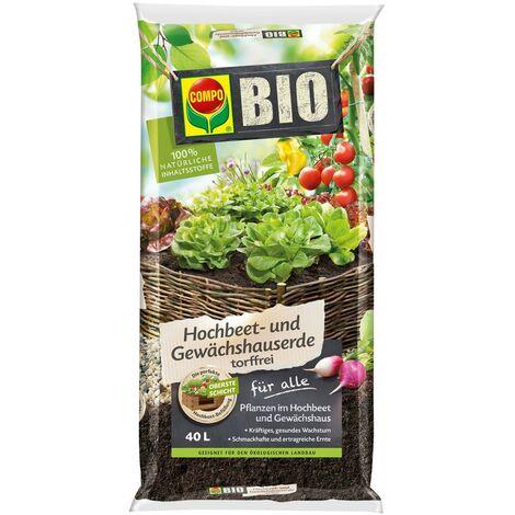 COMPO BIO Hochbeet- und Gewächshauserde 40L, torffrei 100% natürliche Rohstoffe