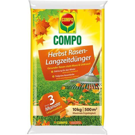 COMPO Herbst Rasendünger mit Langzeitwirkung 10 kg für bis zu 500 m² wirkt 2 - 3 Monate