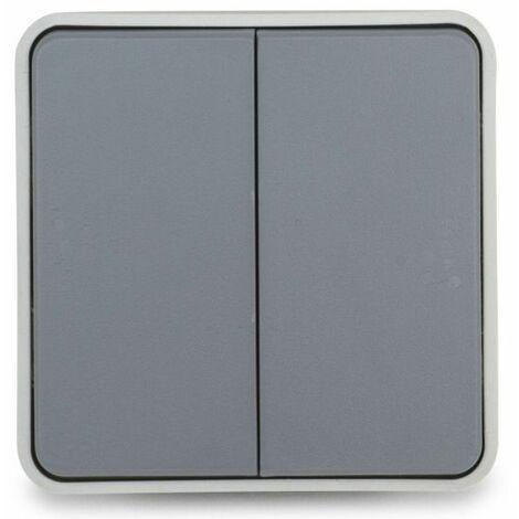 Componible doble conmutador Plexo gris