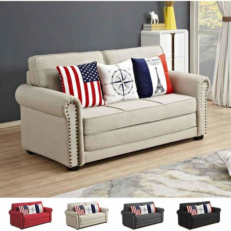 Composable Sofa Bed in Fabric with Cushions SWEET DREAMS