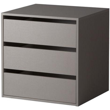 COMPOSAD Cassettiera interna armadio 3 cassetti accessorio legno grigio  CT9301 L58h59p51