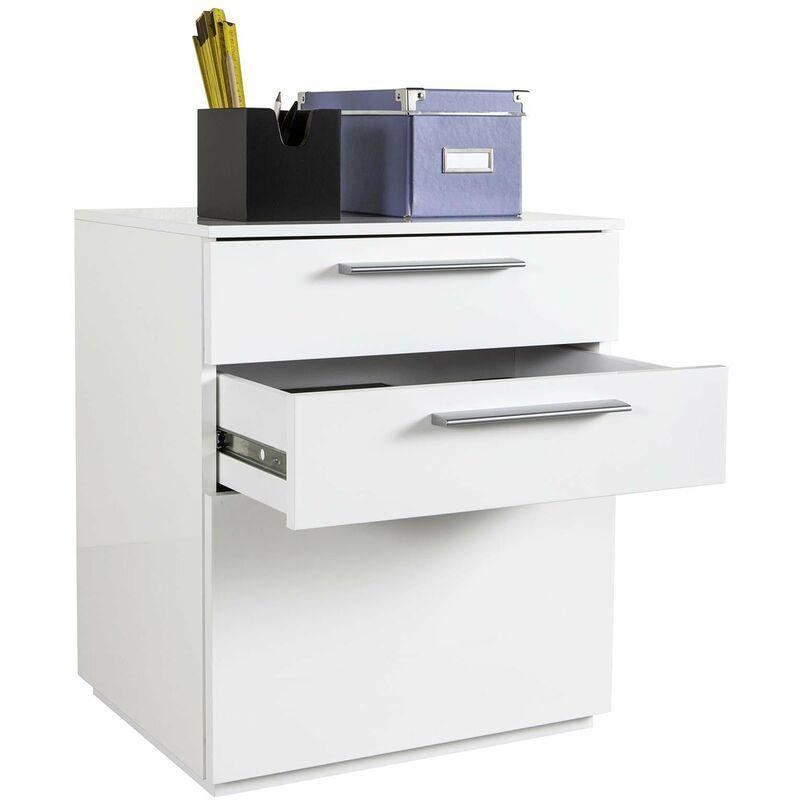 Cassettiera da ufficio 3 cassetti per scrivania bianco laccato con ruote h 60 cm