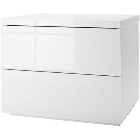 COMPOSAD Comodino due cassetti elegante laccato bianco CT7180 L55h41p44