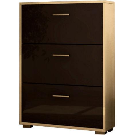 COMPOSAD Scarpiera legno design moderna tre ante bianco laccato grigio SC8797 L80h109p25