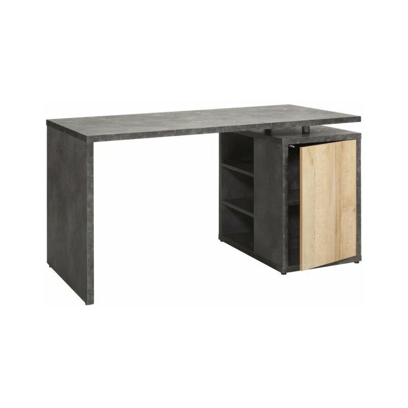 Composad - Scrivania con cassettiera color rovere e nero da ufficio 140 cm con madia