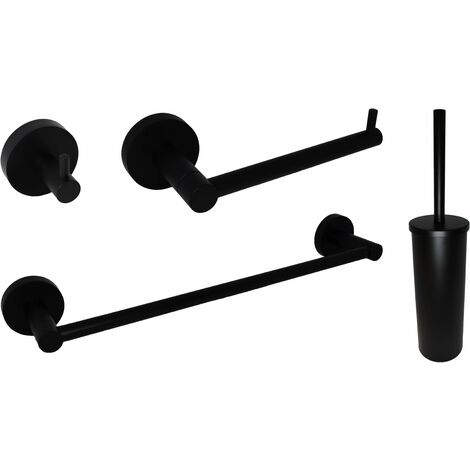 Composición completa de accesorios de baño negro mate Capannoli Hoop KITHP | Negro mate - tornillos de fijación
