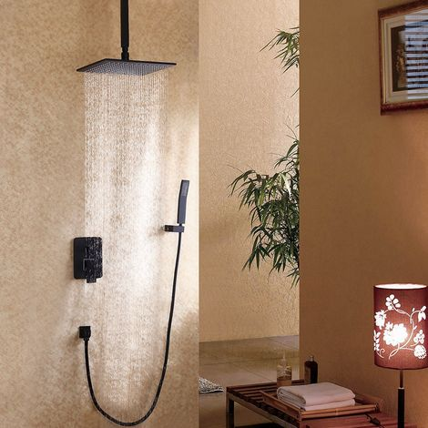Composición de ducha con ducha de mano negra 300 mm