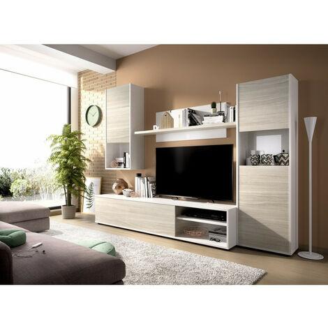 Composición de salón modelo LUKA 03K5573217 en color blanco brillo con gris