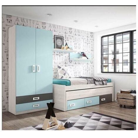 Composición juvenil en acabado blanco/azul cama compacto de 90 cm Color Azul-Blanco