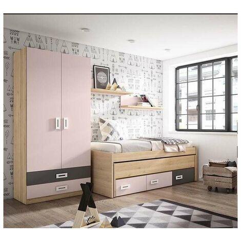 Composición juvenil en acabado pino/rosa cama compacto de 90 cm. Color Pino/Rosa