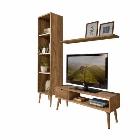 Composicion mueble salon-comedor diseno vintage madera maciza natural acabado encerado