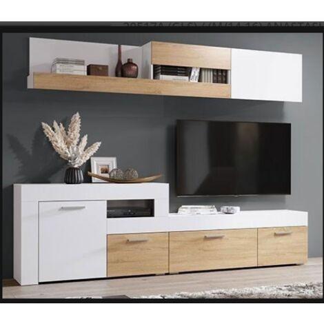 Composición salón Anastasia 200 cm(alto)262 cm(ancho)40 cm(largo) Color Blanco/Sonoma