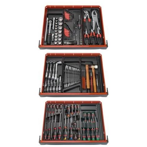 "main image of ""Composition 9 modules 3 tiroir 136 outils mécanicien servante FACOM"""