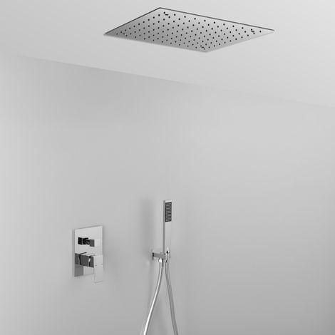 Composition ARES (code 22830) avec pomme de douche à encastrer dans votre plafond, vous donnera entière satisfaction au quotidien + douchette et mitigeur 2 sorties