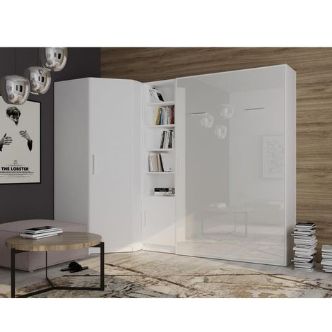 Composition armoire lit angle SMART-V2 140*200 cm, blanc mat / façade gloss blanc brillant