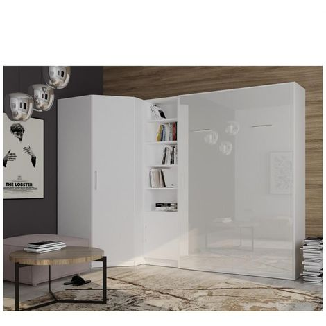 Composition armoire lit angle SMART-V2 160*200 cm, blanc mat / façade gloss blanc brillant