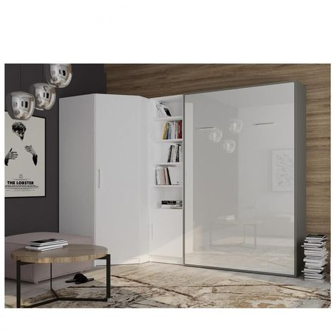 Composition armoire lit angle SMART-V2 160*200 cm, gris graphite mat / façade gloss blanc brillant