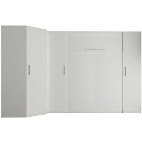 Composition armoire lit escamotable LUTECIA blanc mat Couchage 140 x 190cm 2 colonnes rangements + angle