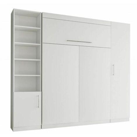 Composition armoire lit escamotable LUTECIA blanc mat couchage 140*190 cm - blanc