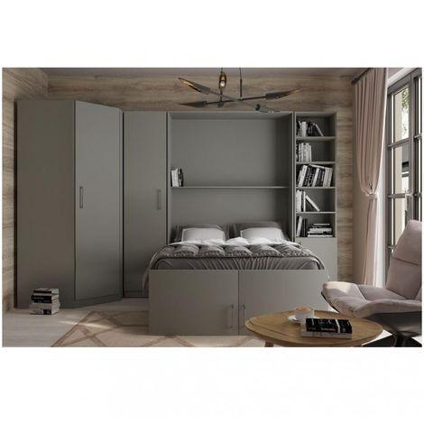 Composition armoire lit escamotable LUTECIA gris graphite mat Couchage 140 x 190 cm 2 colonnes rangements + angle