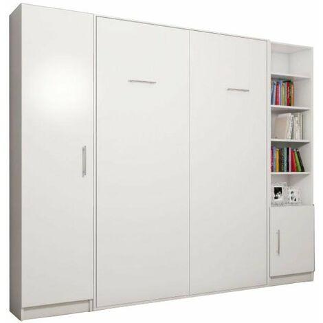 Composition armoire lit escamotable SMART-V2 blanc mat Couchage 140cm 2 colonnes rangements - -