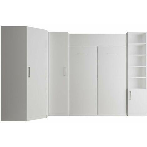 Composition armoire lit escamotable SMART-V2 blanc mat Couchage 160 x 200 cm 2 colonnes rangements + angle - blanc