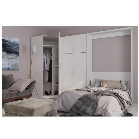 Composition armoire lit escamotable SMART-V2 blanc mat Couchage 160 x 200 cm armoire 2 portes + angle - blanc