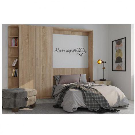Composition armoire lit escamotable SMART-V2 chêne naturel Couchage 160 x 200 cm armoire 2 portes et terminal arrondi - natural