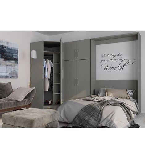 Composition armoire lit escamotable SMART-V2 gris mat Couchage 140 x 200 cm armoire 2 portes + angle - gris