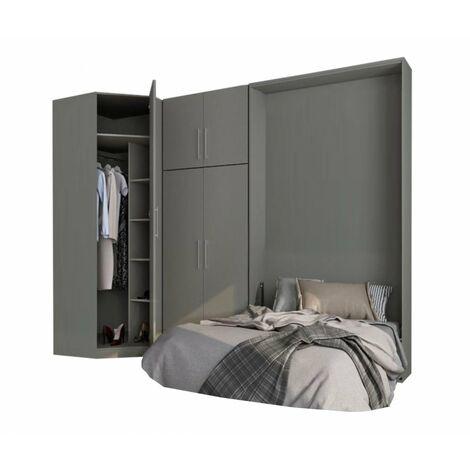 Composition armoire lit escamotable SMART-V2 gris mat Couchage 160 x 200 cm armoire 2 portes + angle - gris
