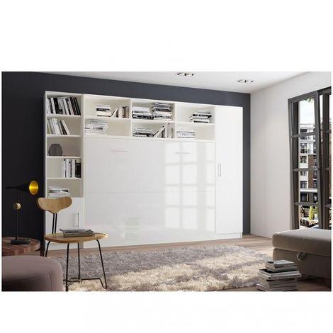 Composition armoire lit horizontale STRADA-V2 blanc mat façade armoire-lit blanc brillant avec 2 colonnes 140*200 cm - blanc