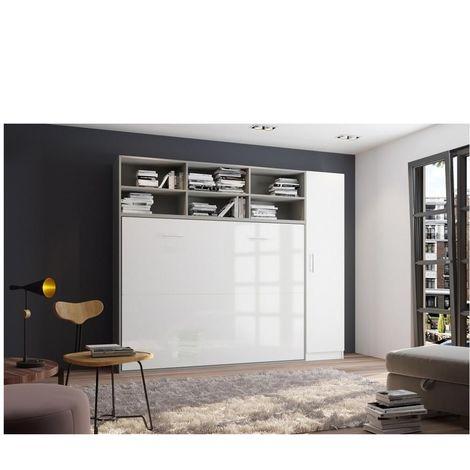 Composition armoire lit horizontale STRADA-V2 gris / blanc mat façade armoire-lit blanc brillant 1 colonne 140*200 cm - bi color