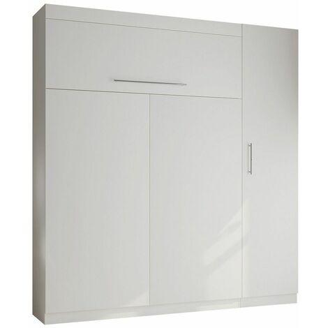 Composition armoire lit LUTECIA blanc mat Couchage 140 x 190 cm colonne armoire - blanc