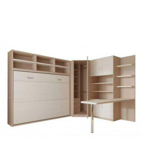 Composition armoire lit transversale SKYROS 140 X 200 cm avec rangements et bureau intégré - taupe