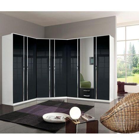Composition armoires d'angle KROSS blanc / laquée noir brillant