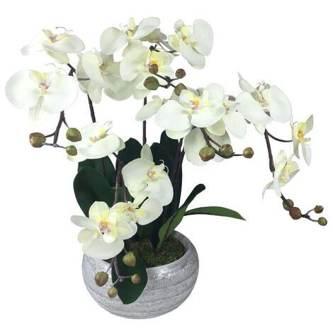 Composition artificielle Orchidée zen crème 5 tiges - 55cm