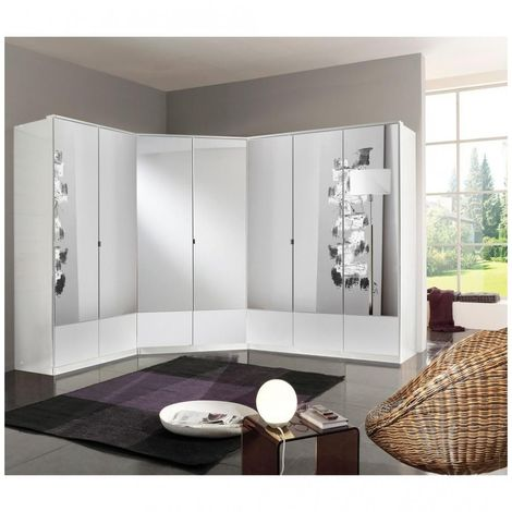 Composition d'armoires dressing d'angle DINGLE blanc