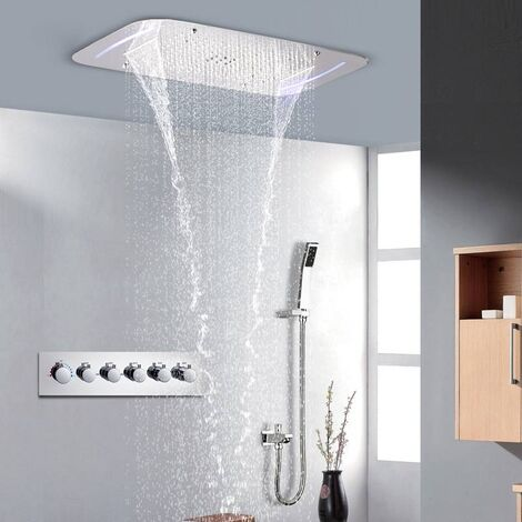 Composition de douche thermostatique avec chromotherapie- ciel de pluie - 71x43 cm