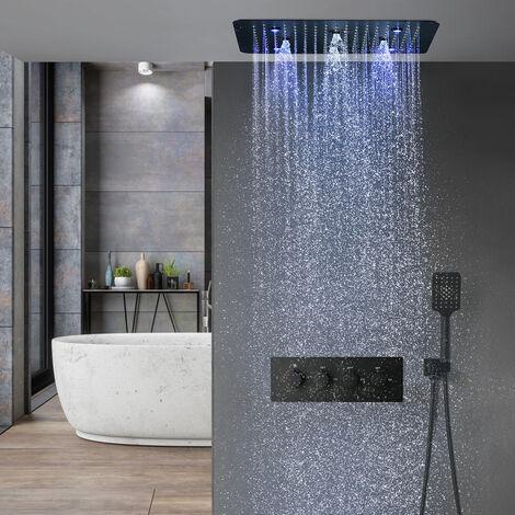 Composition de douche thermostatique encastré plafond jet de pluie à led