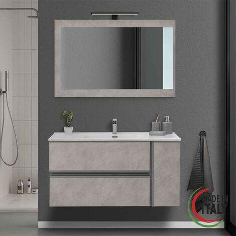 Composition de salle de bain couleur frêne 110 cm Feridras Oxid 805002   Cendre