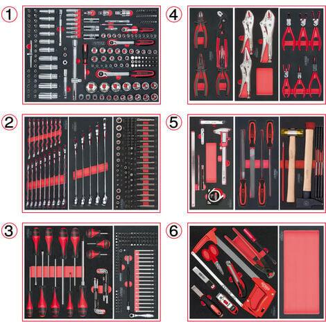 Composition d'outils 6 tiroirs pour servante, 455 pièces