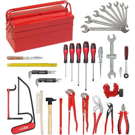 Composition d'outils Sanitaire-Chauffage en caisse métallique - 47 pièces