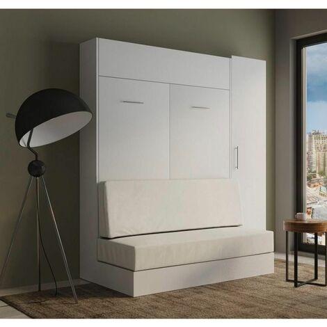 Composition lit escamotable rangement blanc DYNAMO SOFA canapé blanc cassé 140*200 cm L : 201 cm - blanc