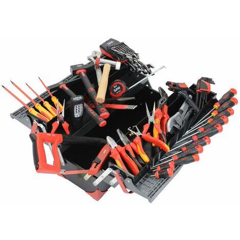 Composition maintenance électricien dans caisse à outils tôle bi-matière SAM - CPP67BOX
