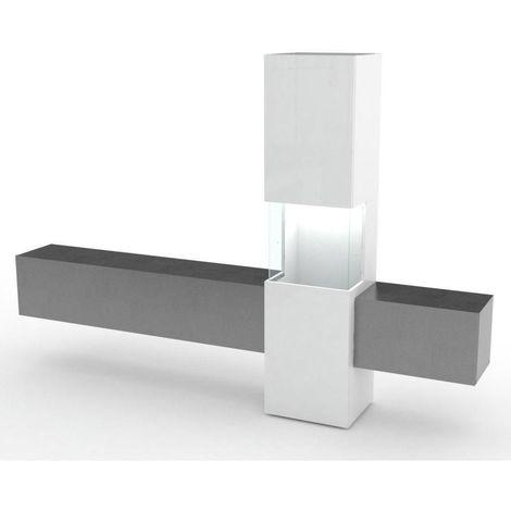 Composition murale TV design WASP marbre noir et blanc laqué - noir
